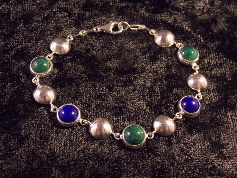 Bracelet Argent, Chrysocolle et Lapis Lazuli Dscn1410