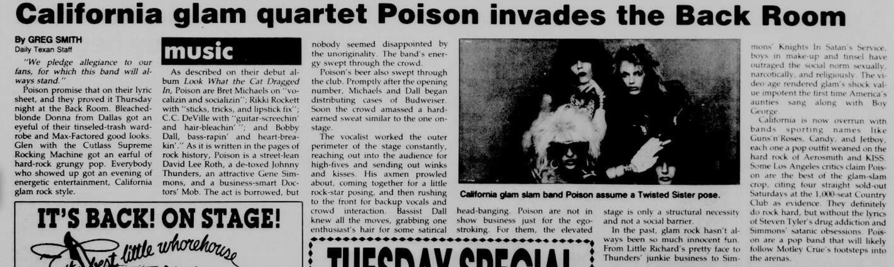 1986.06.24 - Austin Daily Texan - California Glam Quartet Poison Invades the Back Room Austin11
