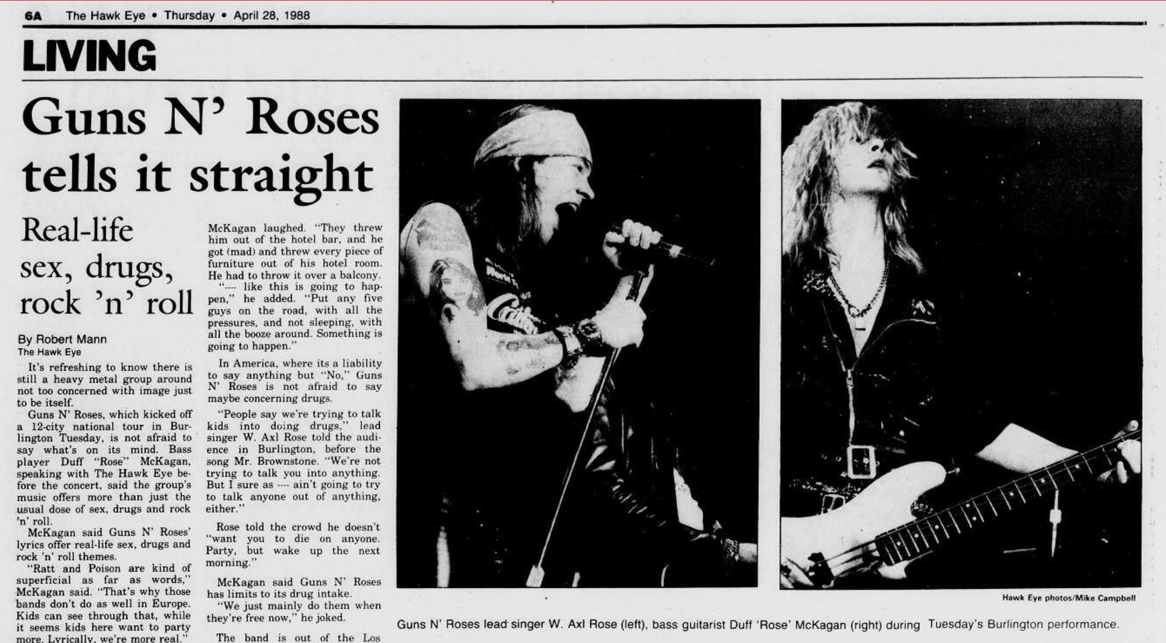 1988.04.28 - The Burlington Hawk Eye - Guns N' Roses Tells It Straight (Duff) Burlin11