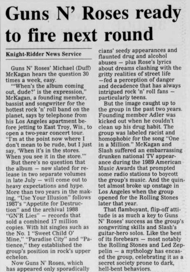 1991.05.30 - Burlington Times News - Guns N' Roses Ready to Fire Next Round Burlin12