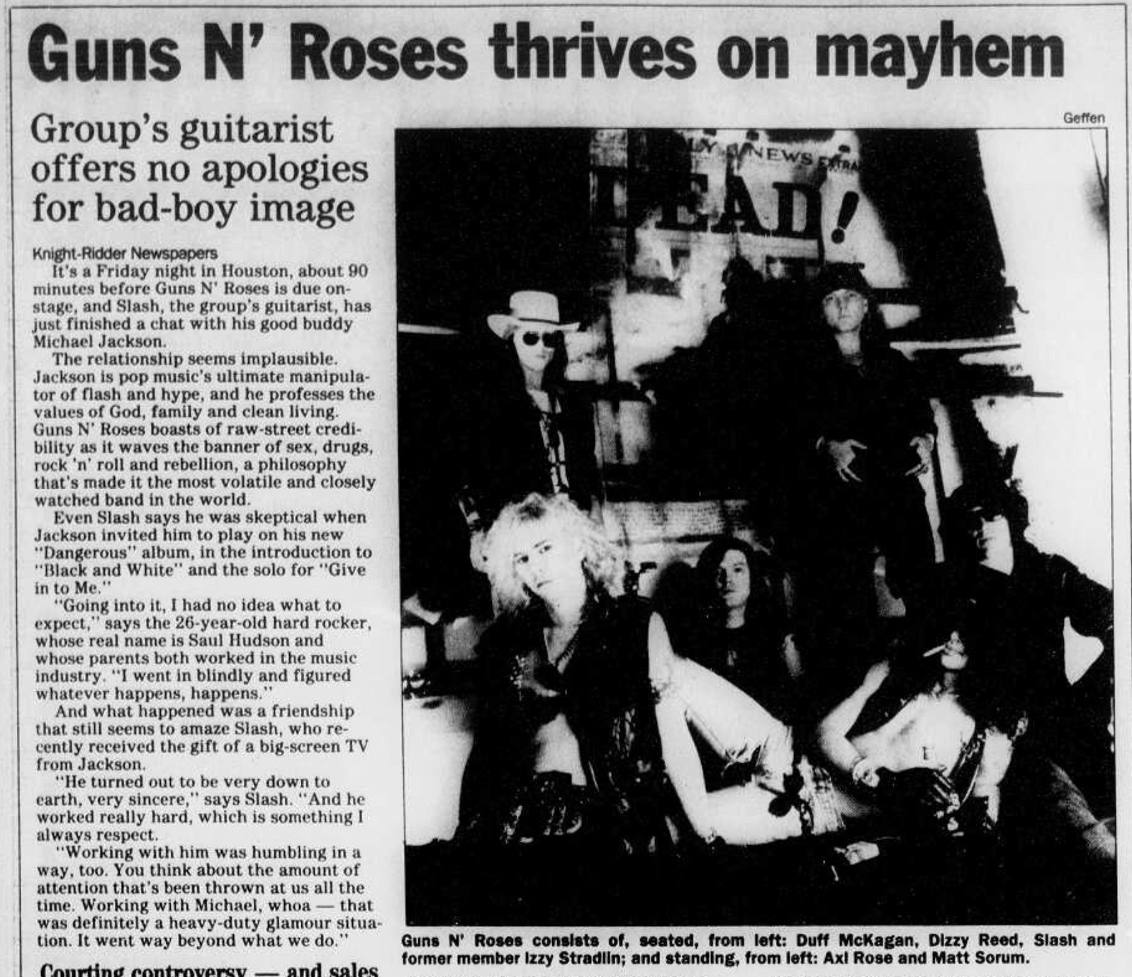 1992.04.12 - Detroit Free Press - Guns N' Roses Guitarist Cuts Right to the Heart (Slash) Colora10