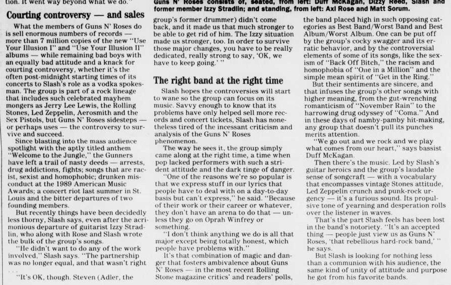 1992.04.12 - Detroit Free Press - Guns N' Roses Guitarist Cuts Right to the Heart (Slash) Colora11