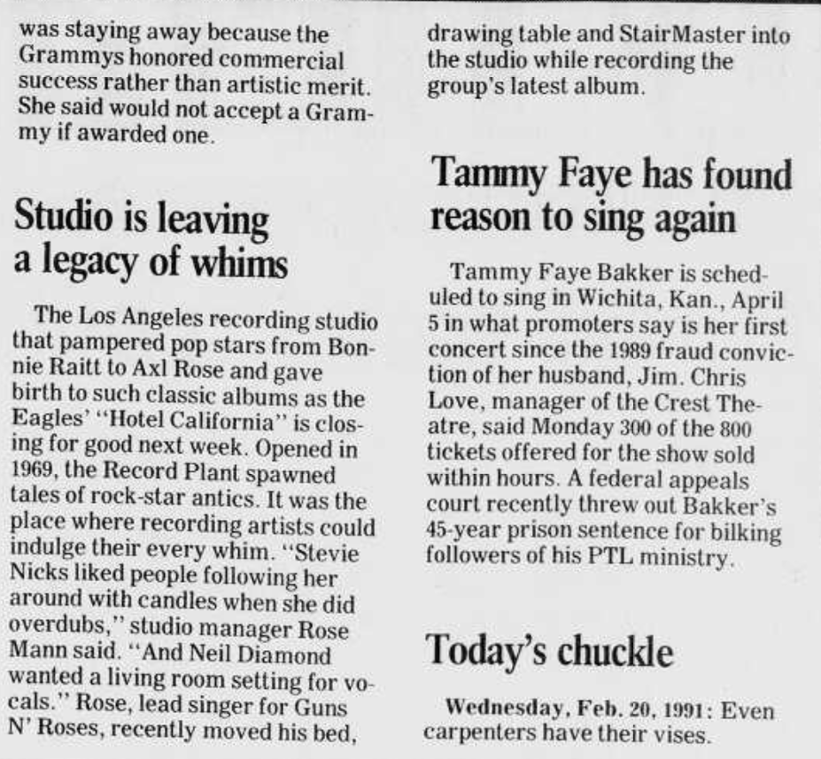 1990.02.20 - Daily Herald Suburban Chicago - Studio is Leaving a Legacy of Whims (Axl, small mention) Daily_13