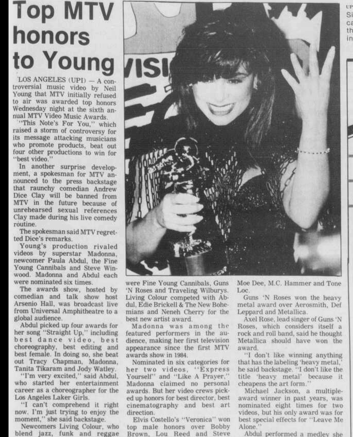 1989.09.08 - Los Angeles Times - Feud Between Rockers Boils Over Backstage at MTV Awards Dixon_10