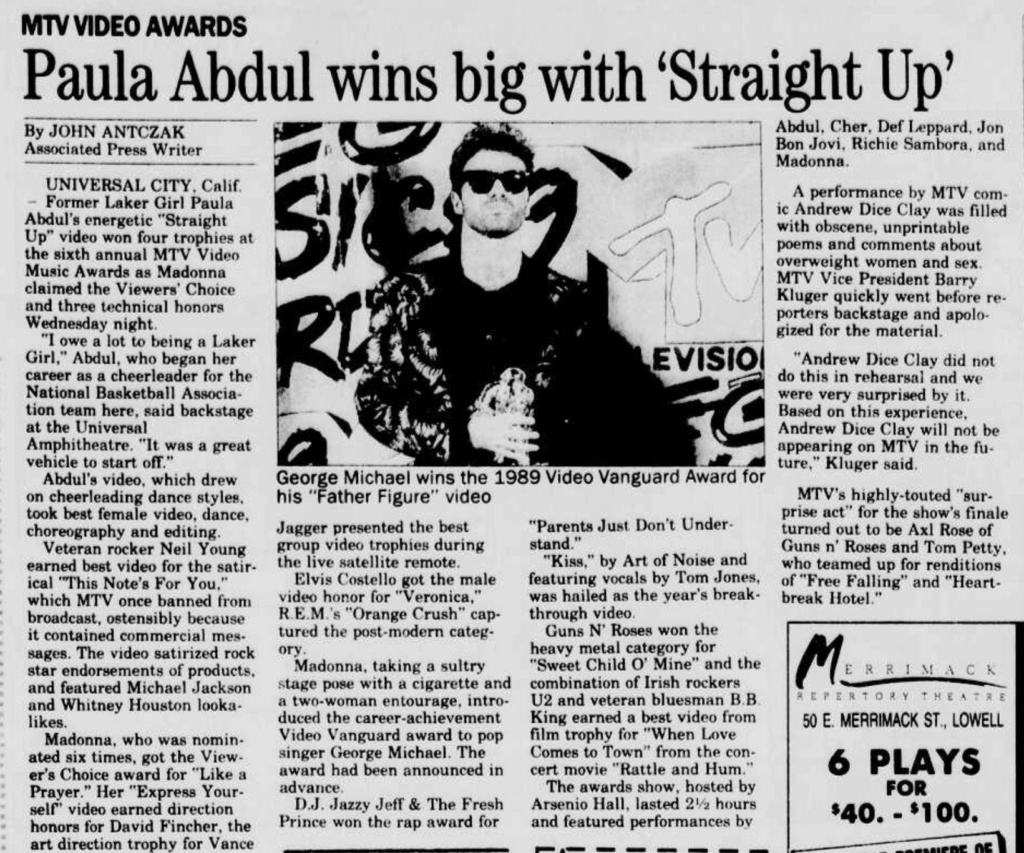 1989.09.07 - Lowell Sun, Paula Abdul Wins Big with 'Straight Up' [GN'R mention] Lowell11