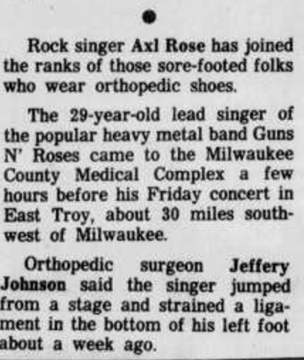 1991.05.26 - Madison Wisconsin State Journal - Short notice (Axl) Madiso10