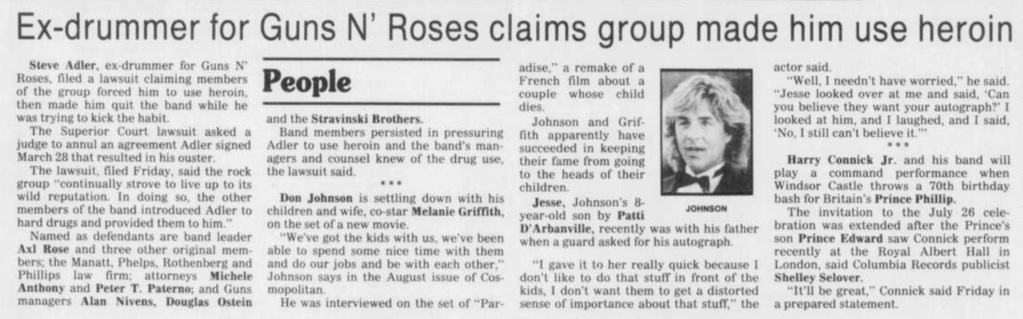 1991.07.21 - AP/Vidette Messenger - Ex-drummer sues Axl Rose, others New_ph10