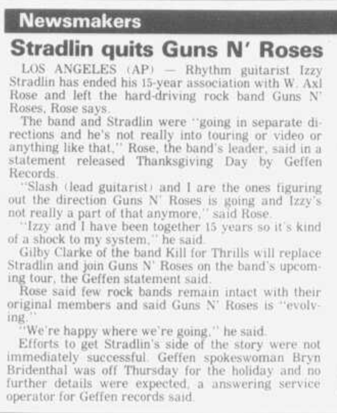 1991.11.28 - Ottumwa Courier - Stradlin Quits Guns N' Roses Ottumw11