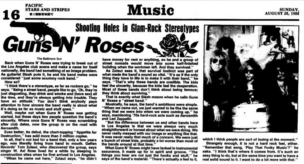 1988.08.12 - The Baltimore Sun - Guns N' Roses (Slash) Pacifi11