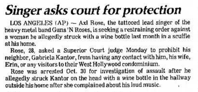 1990.11.19 - People Magazine - A Neighbor Says Axl Rose Hit Her with a Wine Bottle, and He Says She's Got a Corkscrew Loose Salina10