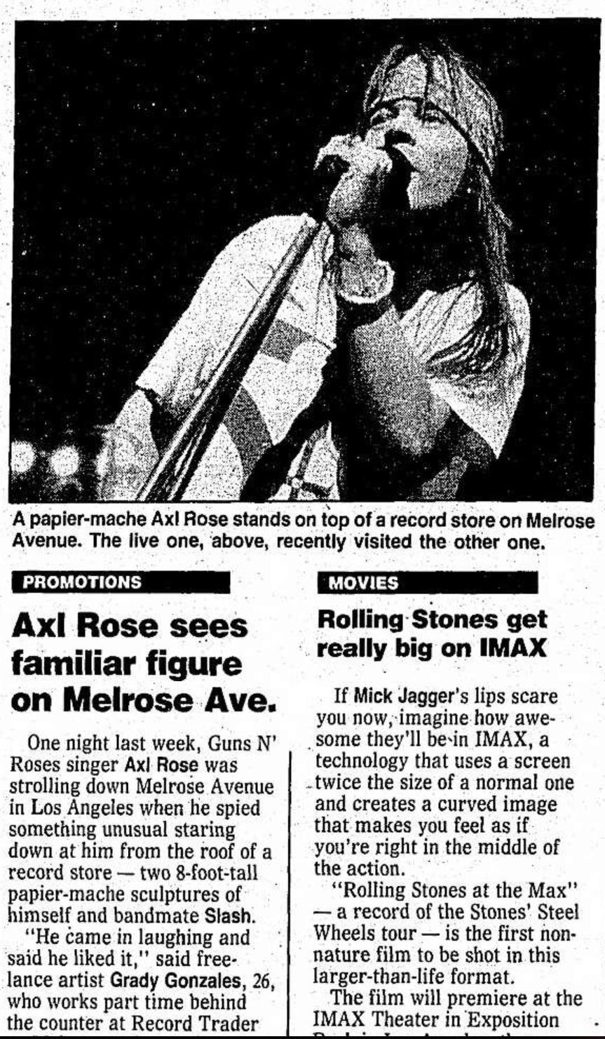 1991.10.14 - Santa Ana County Register - Axl Roses Sees Familiar Figure on Melrose Ave. Santa_10