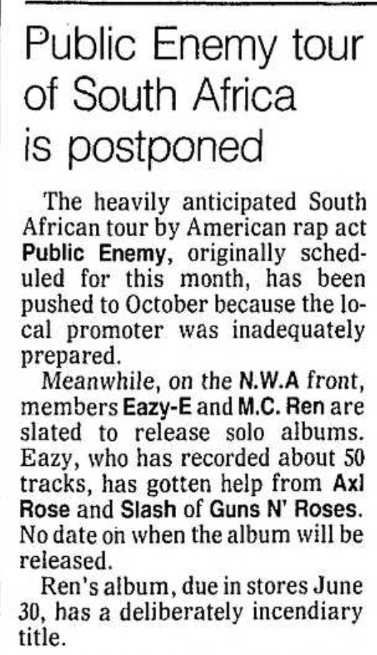 1992.06.12 - Santa Ana Register - Public Enemy Tour of South Africa is Postponed [Axl and Slash mention] Santa_30