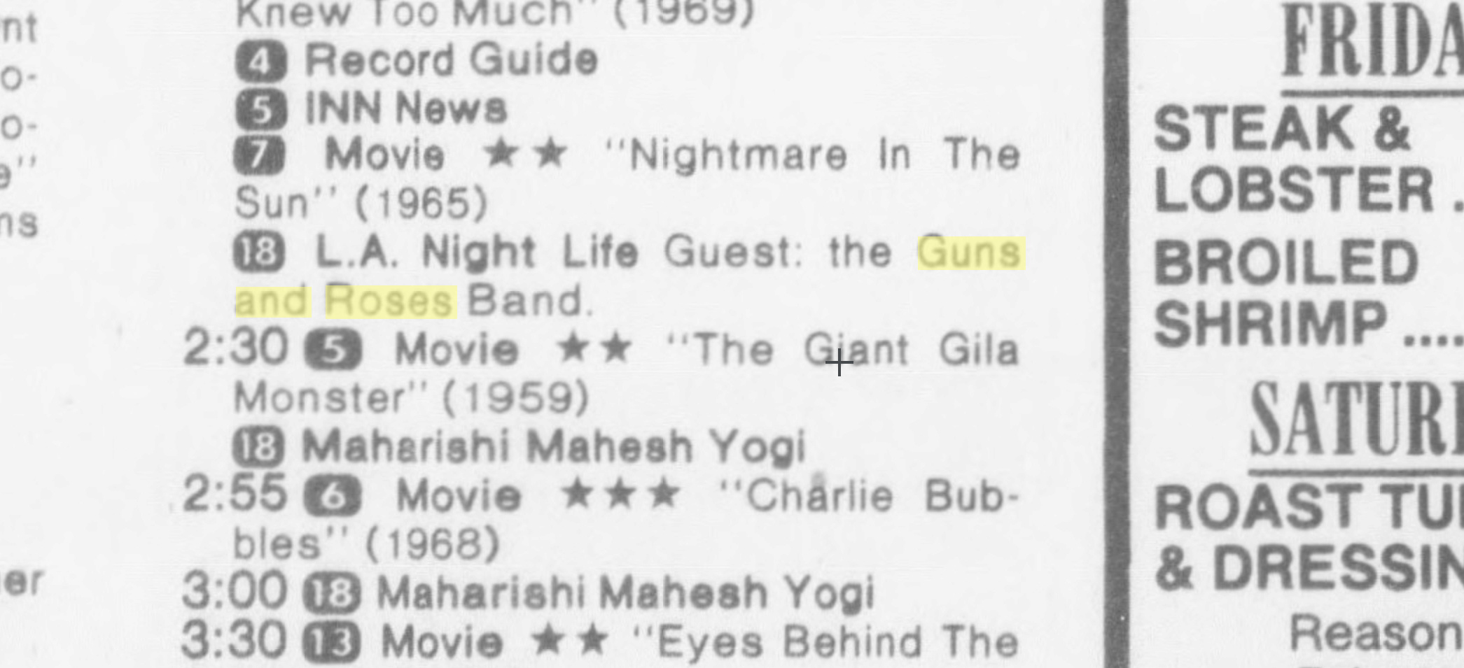 "Guns N' Roses featured on ""LA Night Life"" in 1986? Uten_n47"