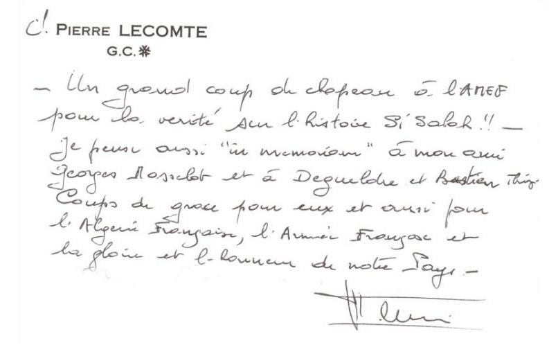 Décés du Colonel Pierre LECOMTE 119