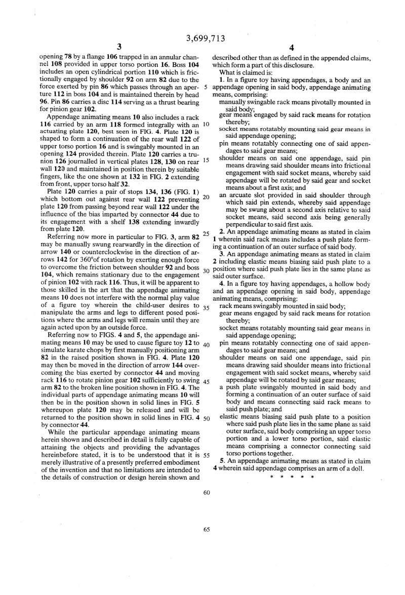 Brevetto di: Big Jim meccanismi 1972 Us369914
