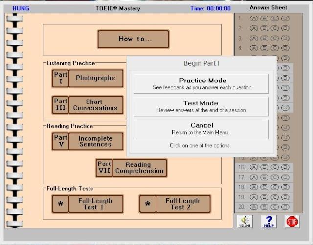 Phần mềm luyện thi TOEIC MASTERY 1.2 Toeic10