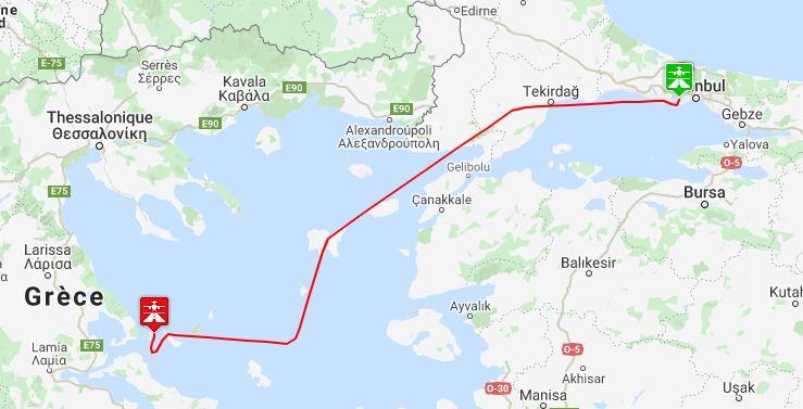Vol de LTBA (Istanboul en Turquie) à LGSK (Skiathos en Grèce) Plan10
