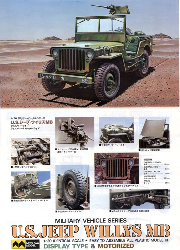 NOUVEL ACHAT=  U.S. JEEP WILLYS MB  -  MITSUWA MODEL 1/20   Display type Img09410
