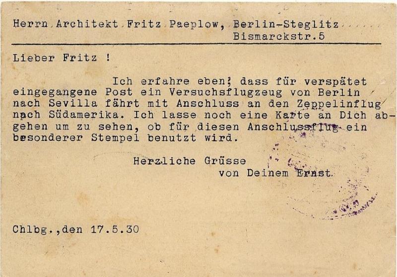 nach - Südamerikafahrt 1930, Post nach Rio de Janeiro 57_t_k11