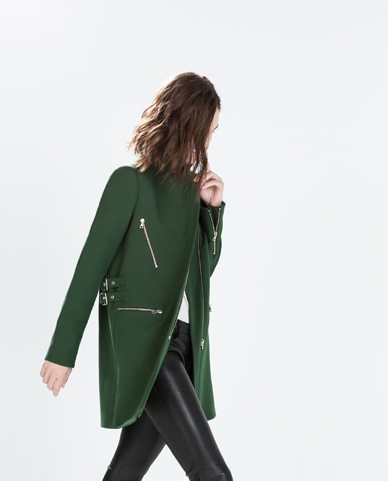 Manteau Vert Zara T.M 79256711