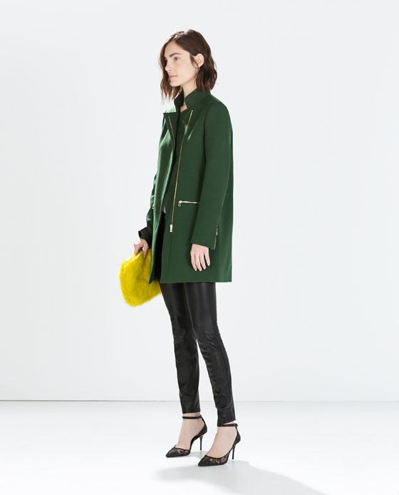 Manteau Vert Zara T.M 79256712