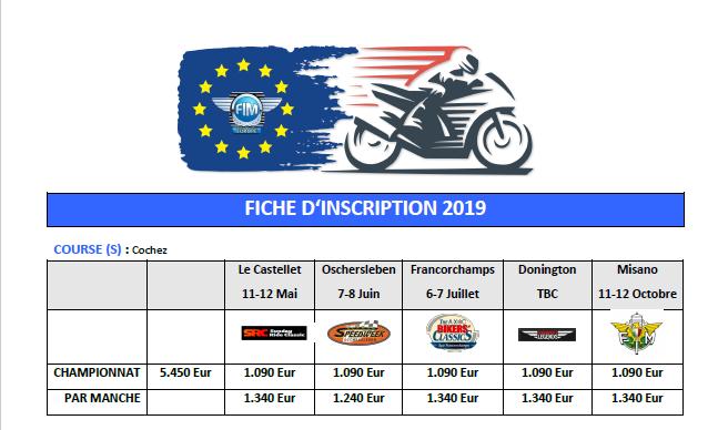 ENDURANCE Europe 2019 Tarifs10