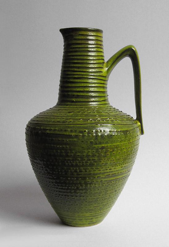 Tall mid century jug, acid green glaze Acid_g10