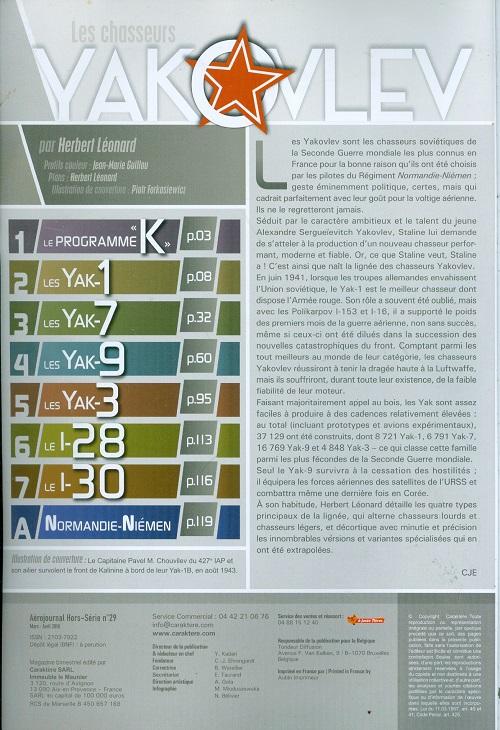LES CHASSEURS YAKOVLEV Aéro-Journal HSn°29  Numzor22