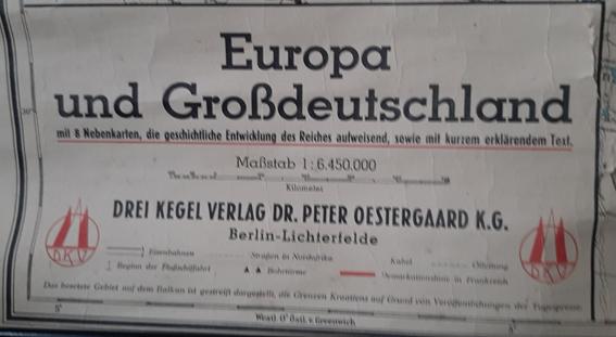 carte europeennne de 1941 éditée en Allemagne 20200526
