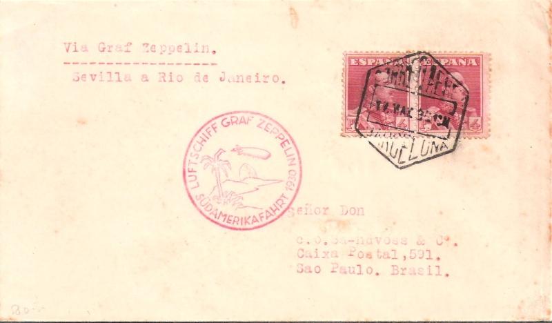 nach - Südamerikafahrt 1930, Post nach Rio de Janeiro Scanne18