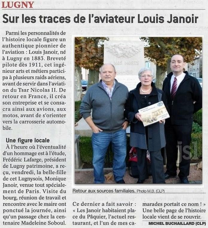 """Sur les traces de l'aviateur Louis Janoir"""" (""""Le Journal de Saône-et-Loire"""" du lundi 24.11.2014) Chanoi10"""