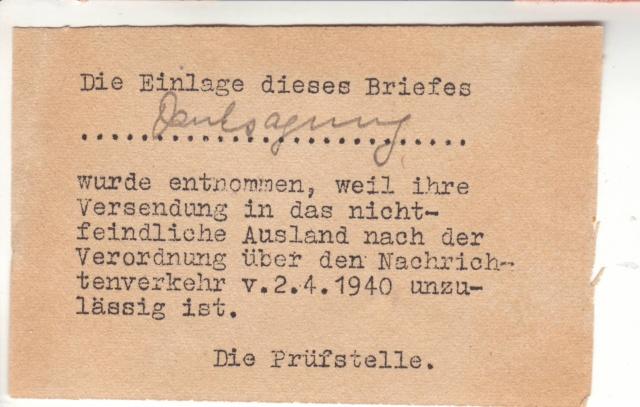 Papillon indiquant le prélèvement d'un contenu interdit par le décret des communication du 2.4.1940 10000810