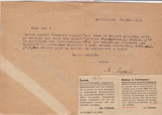 Papillon de retour pour lettres recommandées des travailleurs étrangers utilisé par erreur sur courrier civil 10000910