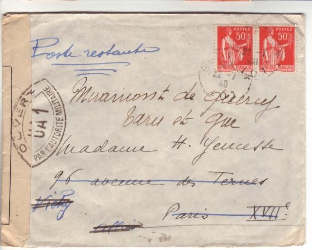 Censure UA 1 sur lettre de Groslejac pour Paris redirigée  sur Vichy en Juillet 1940. 10001610