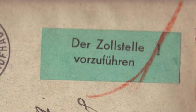 """Etiquettes vertes """"à présenter à la douane"""" sur courrier vers le Reich. 1002210"""