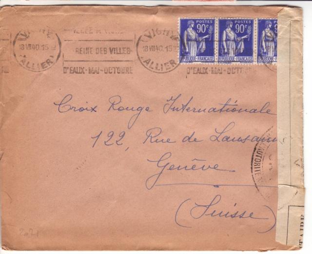 Censure UA 1 sur lettre de Groslejac pour Paris redirigée  sur Vichy en Juillet 1940. 1004410