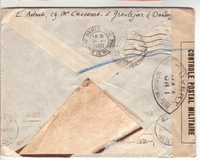 Censure UA 1 sur lettre de Groslejac pour Paris redirigée  sur Vichy en Juillet 1940. 11001410