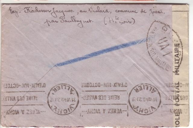 Censure UA 1 sur lettre de Groslejac pour Paris redirigée  sur Vichy en Juillet 1940. 13001010