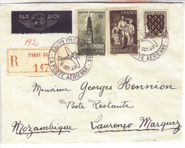 Qui connaît le Tarif postal de France vers le Mozambique en 1943 ?  15000910