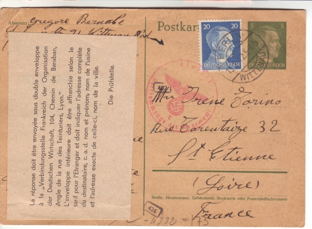 Etiquette d'intruction pour l'envoie du courrier vers les STO. 3002310