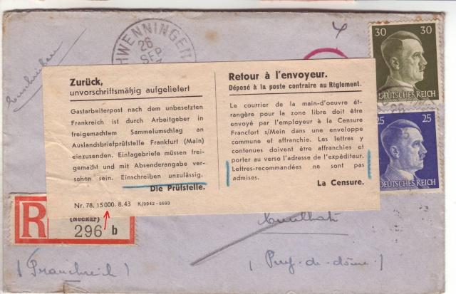 Lettres recommandées des STO ne sont plus admises par la censure de Francfort/M (e) (suite) 4001910