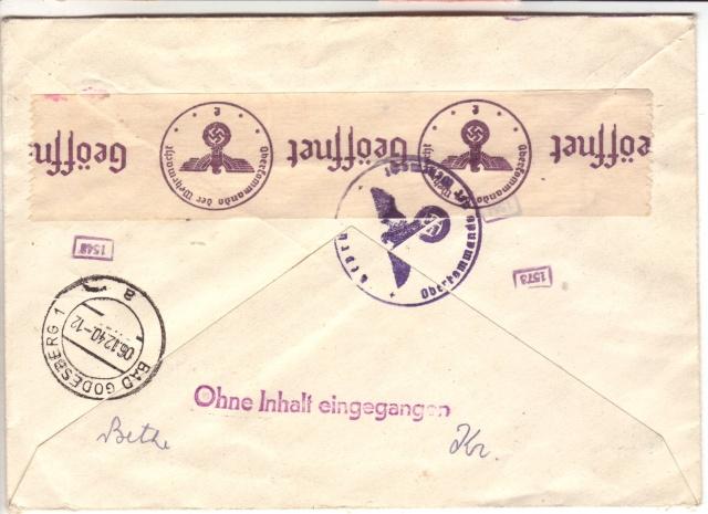 Enveloppes sans contenu examinées par L'ABP e 4002110