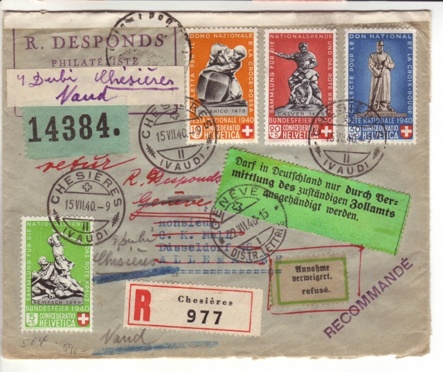 """Etiquettes vertes """"à présenter à la douane"""" sur courrier vers le Reich. 40_07_10"""