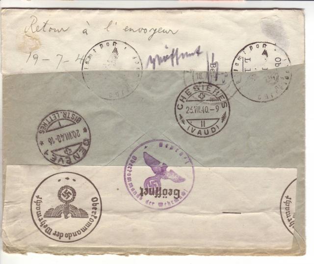 """Etiquettes vertes """"à présenter à la douane"""" sur courrier vers le Reich. 40_07_11"""