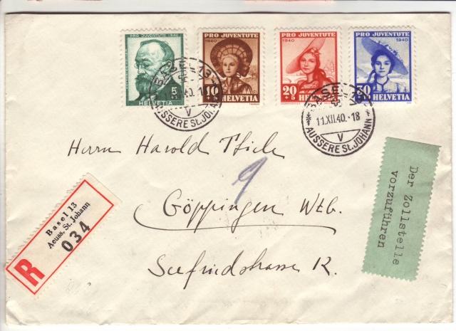 """Etiquettes vertes """"à présenter à la douane"""" sur courrier vers le Reich. 40_12_10"""
