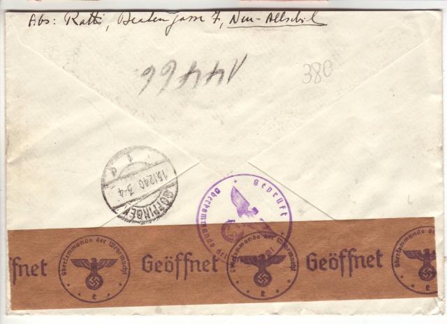 """Etiquettes vertes """"à présenter à la douane"""" sur courrier vers le Reich. 40_12_11"""
