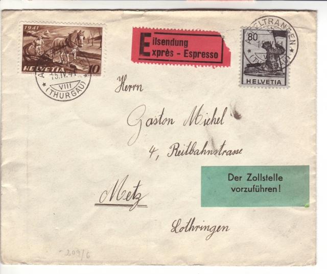 """Etiquettes vertes """"à présenter à la douane"""" sur courrier vers le Reich. 41_04_10"""