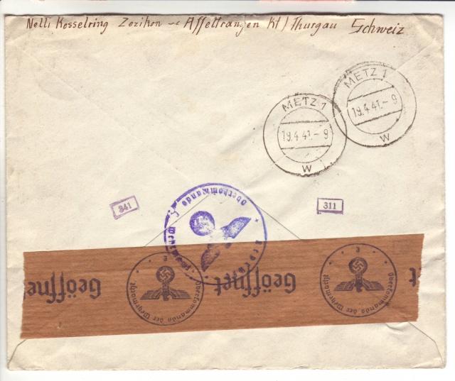 """Etiquettes vertes """"à présenter à la douane"""" sur courrier vers le Reich. 41_04_11"""