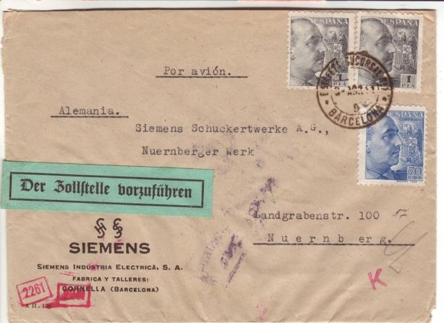 """Etiquettes vertes """"à présenter à la douane"""" sur courrier vers le Reich. 41_08_10"""
