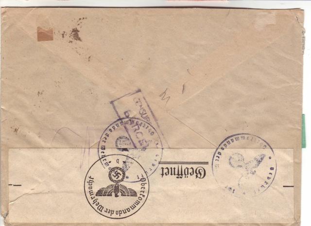 """Etiquettes vertes """"à présenter à la douane"""" sur courrier vers le Reich. 41_08_11"""